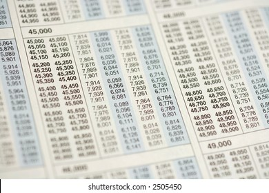 Macro, selective focus view of income tax table.