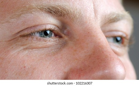 Macro shoot of adult man face.