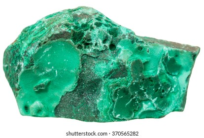 macro shooting of collection natural rock - green Malachite mineral stone isolated on white background