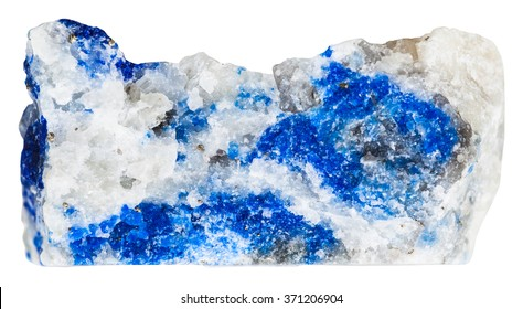 macro shooting of collection natural rock - azure lazurite mineral stone with pyrite crystals isolated on white background
