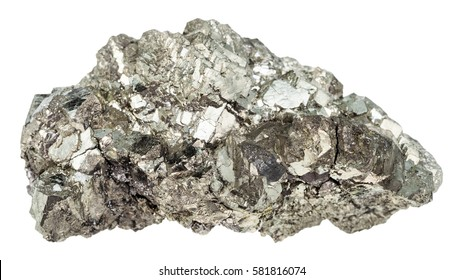 macro shooting of geological collection mineral - crystals of marcasite stone (white iron pyrite) isolated on white background