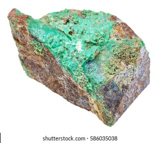 macro shooting of geological collection mineral - specimen of green Garnierite stone (nickel ore) isolated on white background