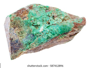 macro shooting of geological collection mineral - stone of green Garnierite rock (nickel ore) isolated on white background