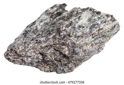 macro shooting of metamorphic rock specimens - quartz biotite schist stone isolated on white background