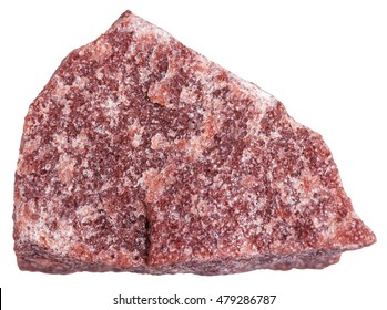 macro shooting of metamorphic rock specimens - red Quartzite stone isolated on white background