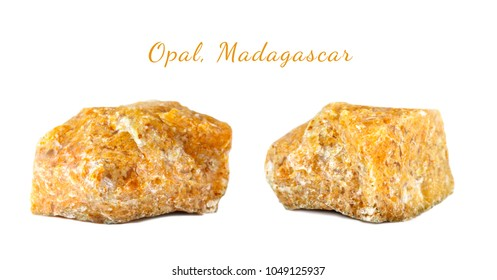Macro shooting of natural gemstone. The raw mineral is opal, Madagascar. Isolated object on a white background.