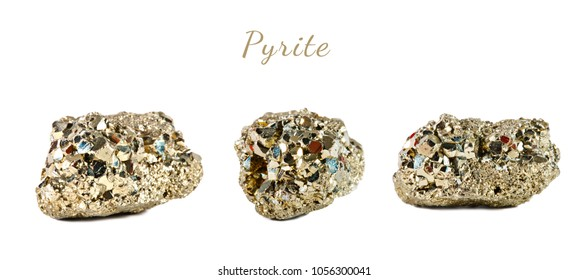 Macro shooting of natural gemstone. The raw mineral is pyrite, China. Isolated object on a white background.