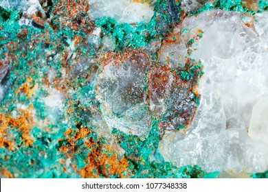 Macro shooting of natural gemstone. Texture of mineral of malachite. Abstract background.