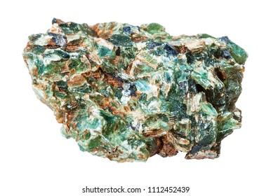 macro shooting of natural mineral - green beryl and emerald crystals in druse isolated on white backgroung from Ural Mountains