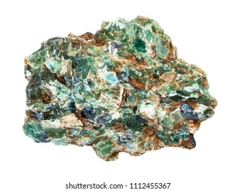 macro shooting of natural mineral - green beryl and emerald crystals in rough rock isolated on white backgroung from Ural Mountains
