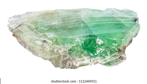macro shooting of natural mineral - slab from green Beryl gemstone isolated on white backgroung from Ural Mountains