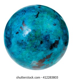 macro shooting of natural mineral stone - ball from blue chrysocolla gemstone isolated on white background