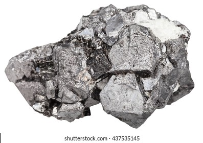 macro shooting of natural rock - big crystals of magnetite mineral stone (iron ore) isolated on white background