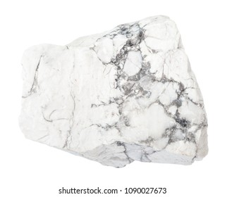 macro shooting of natural rock specimen - raw Howlite stone isolated on white background