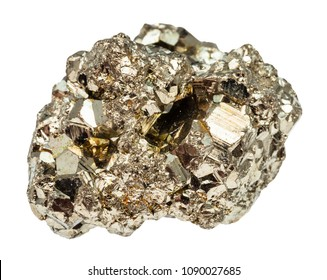 macro shooting of natural rock specimen - crystalline iron pyrite (fool's gold) stone isolated on white background