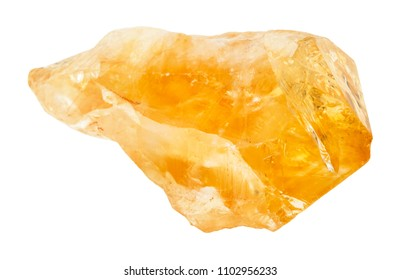 macro shooting of natural rock specimen - rough crystal of Citrine (yellow quartz) gemstone isolated on white background from Brazil