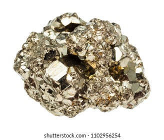 macro shooting of natural rock specimen - raw iron pyrite (fool's gold) stone isolated on white background