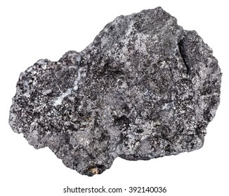 macro shooting of natural rock specimen - piece of graphite gemstone isolated on white background