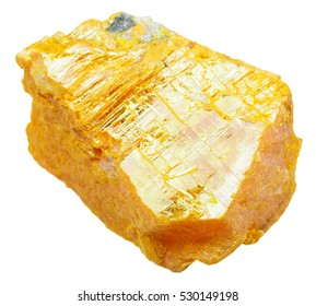macro shooting of specimen of natural mineral - piece of orpiment (ratebane, yellow arsenic, yellow orpiment, yellow ratebane) stone isolated on white background