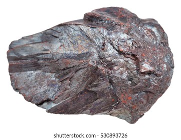 macro shooting of specimen of natural mineral - piece of Hematite (iron ore, haematite) stone isolated on white background