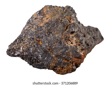 macro shooting of specimen natural rock - psilomelane (black hematite) mineral stone isolated on white background