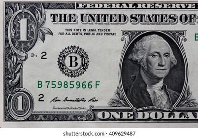 Macro shot of  1 dollar