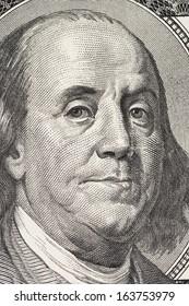 Macro shot of a 100 dollar bill