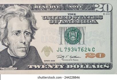 Macro shot of 20 US dollars bill