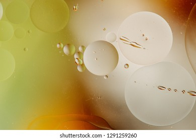 Macro shot of backlit water-oil emulsion over colored background. Tiny gas bubbles inside larger oil bubbles inside water base. Drops of water and scratches on outer surface of the plastic container.
