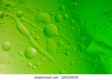 Macro shot of backlit water-oil emulsion over colored background. Tiny gas bubbles inside larger oil bubbles inside water base. Long drops of water and scratches on outer surface