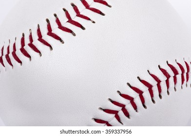 macro shot of a baseball showing details of the surface with place for copy