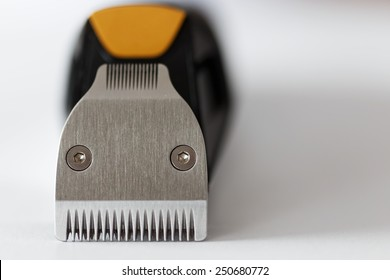 Macro shot of beard trimmer blades with blurred background