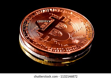 Macro shot of Bitcoin crypto currency on black background