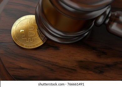 Macro shot of Bitcoin and judge hammer on wooden surface with copy space below. Bitcoin legal issues and tax frauds concept. 3D rendering