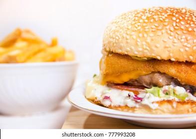 macro shot of burger