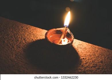 A macro shot of candle light (Karthigai Deepam)