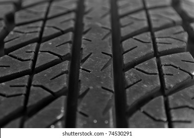 Macro shot of a car tire tread