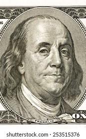 Macro Shot Of Center Of False Hundred Dollar Bill/ Benjamin On The Hundred Dollar Bill
