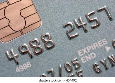 Macro shot of chip and pin credit card