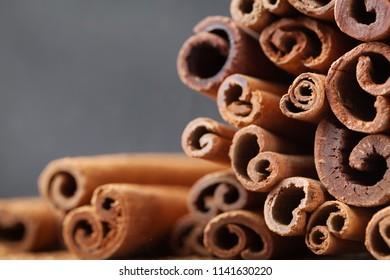 Macro shot of cinnamon sticks. Aromatic spice.