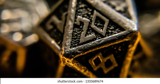 Macro Shot of D20 and Other Dice coming out of Bag