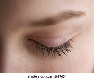 Macro shot of eyelashes