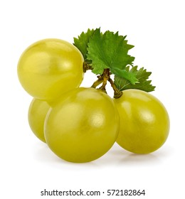 Macro shot of a few green grapes berries with leaves, isolated on white.