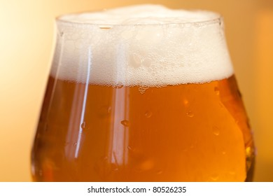 Macro shot of a glass of beer
