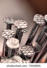 Macro shot of iron nails heads
