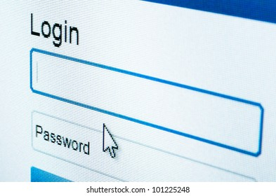 macro shot of Login and password on computer screen