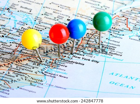Macro Shot Map East Coast United Stock Photo (Edit Now) 242847778 ...