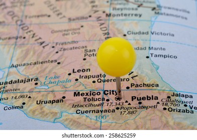 macro shot of a map showing mexico city