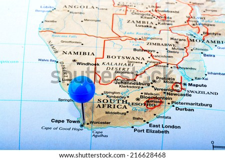 Macro Shot Map South Africa Blue Stock Photo (Edit Now) 216628468 ...