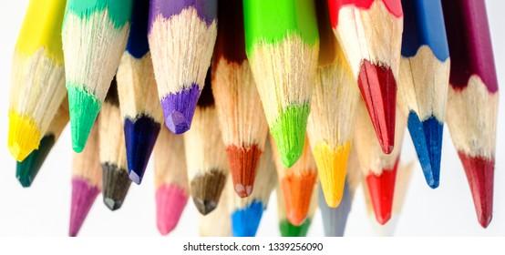Macro shot multiple colored pencils